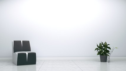Empty room interior with chair and plants on white background. 3D rendering