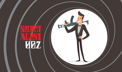 Vector image of a black background in the form of a gun barrel with a cartoon image of a secret agent in a black tuxedo standing with a machine gun in his hand in the center. Spy. Vector illustration.