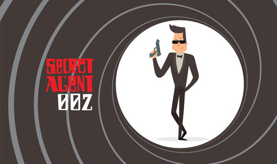 Vector image of a black background in the form of a gun barrel with a cartoon image of a secret agent in a black tuxedo in sunglasses with gray gun in his hand in the center. Spy. Vector illustration.