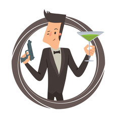 Vector image of a black round frame with cartoon image of a secret agent with black hair in a black tuxedo with gun and green cocktail in hands in the center on a white background. Vector illustration