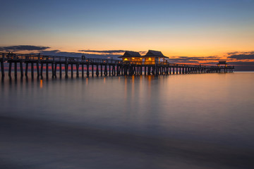 Colorful sunset at Naples Florida pier