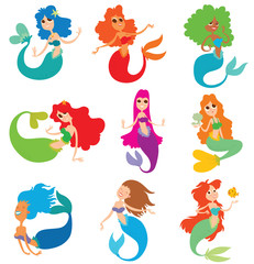 Vector cartoon image of a set of mermaids. Mermaids with a different hair color and tails. Mermaids with big eyes in various poses on a white background. Set of cartoon mermaids. Vector illustration.