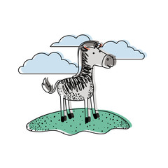 zebra cartoon in outdoor scene with clouds in watercolor silhouette vector illustration