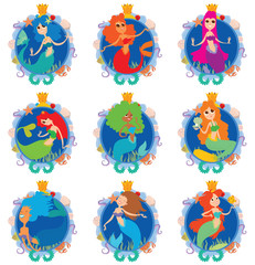 Vector set of round blue frame. Frames decorated with a nautical theme. Mermaids with a different hair color at the center of frames on a white background. Set of frames with mermaids. Vector image.