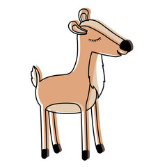 female deer cartoon with closed eyes expression in watercolor silhouette vector illustration