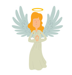 Vector cartoon image of a female angel. Female angel with blond hair in a white chasuble. Angel with big white wings and a golden halo over her head. Angel with eyes closed and hands folded in prayer.