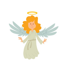 Vector cartoon image of a little female angel. Little female angel with long blond hair in white chasuble. Angel with big white wings and a golden halo over her head. Vector angel is smiling.
