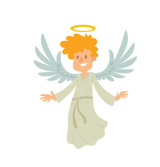 Vector cartoon image of a little male angel. Little male angel with blond curly hair in white chasuble. Angel with big white wings and a golden halo over her head. Vector angel is smiling.
