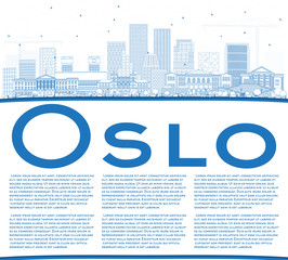 Outline Oslo Norway Skyline with Blue Buildings and Copy Space.