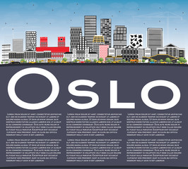 Oslo Norway Skyline with Gray Buildings, Blue Sky and Copy Space.