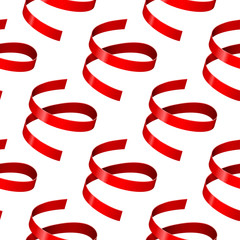 Shiny red ribbons. Seamless pattern