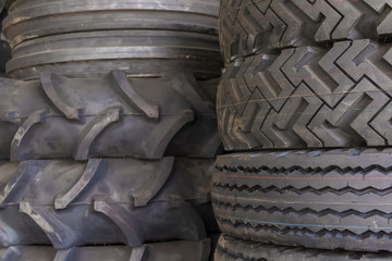 Tire rubber products , Group of tires at tire store.