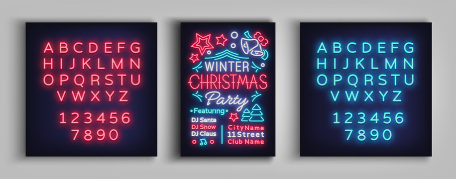 Christmas party invitation, brochure, poster. Merry Christmas, festive card in neon style. Postcard, flyer, bright sacred banner, neon advertising for your holiday projects. Editing text neon sign