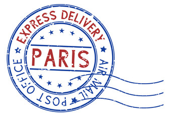 Round blue and red postmark Paris, France