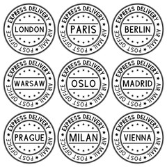 Postmark Express delivery with european cities names. Black collection