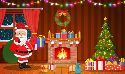 Santa Claus in Christmas room interior