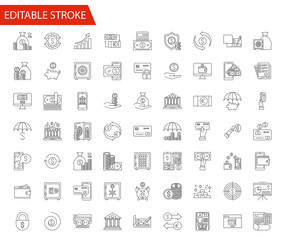 Banking Vector Icon Set. Thin Line Vector Illustration. Adjust stroke weight - Expand to any Size - Easy Change Colour - Editable Stroke - Pixel Perfect
