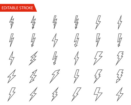 Lightning Vector Icons Set. Thin Line Vector Illustration. Adjust stroke weight - Expand to any Size - Easy Change Colour - Editable Stroke