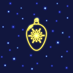 Neon Christmas bauble icon in line style