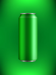 green realistic Aluminum can with a drink on a backlit background