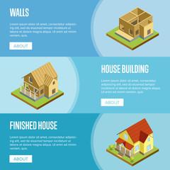 House framework isometric 3d concept.