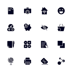 Set of 16 different universal icons for sites, apps, programs and other.