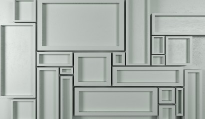 3D Rendering Of Abstract Rectangle Frames Background Top View