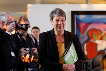 German Environment Minister Barbara Hendricks attends the weekly cabinet meeting at the Chancellery in Berlin