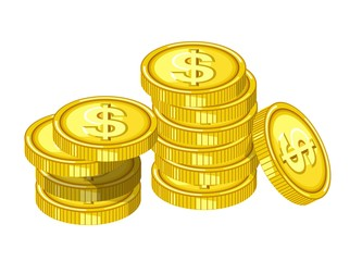 Gold Coins Or Golden Money Coin Splash Splatter On Vector
