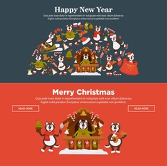 Happy New Year 2018 or Christmas web banners design template for Dog Year.
