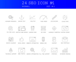 Line icons set. SEO pack. Vector illustration.