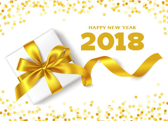 Happy New Year 2018.Decorative New Year background with gift box, golden bow, gold confetti and  2018 greeting text. Winter holiday template design