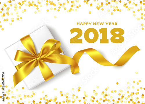 Happy New Year 2018.Decorative New Year background with gift box ...