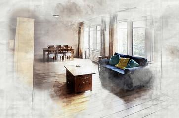 imitation of interior sketch