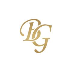 Initial letter BG, overlapping elegant monogram logo, luxury golden color