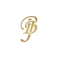 Initial letter BJ, overlapping elegant monogram logo, luxury golden color