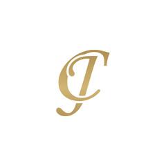Initial letter CJ, overlapping elegant monogram logo, luxury golden color