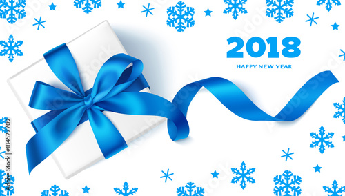 happy new year 2018decorative new year background with gift box blue bow