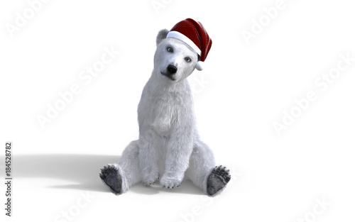 1e8405fcac7 3d illustration polar bear cub isolated on white background with clipping  path and santa hat.