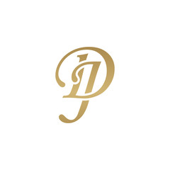 Initial letter DJ, overlapping elegant monogram logo, luxury golden color