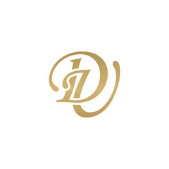Initial letter DU, overlapping elegant monogram logo, luxury golden color