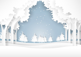 Nature landscape and forest on snow winter background.For merry christmas and happy new year paper art style.Vector illustration.