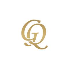Initial letter GQ, overlapping elegant monogram logo, luxury golden color