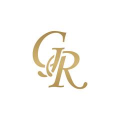 Initial letter GR, overlapping elegant monogram logo, luxury golden color