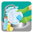 Human in rubber protective gloves dishwashing plate with a sponge