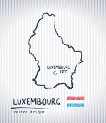 Luxembourg national vector drawing map on white background