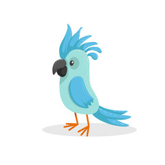 Cute cartoon trendy design little blue parrot . Tropical animal wildlife vector illustration sticker icon.