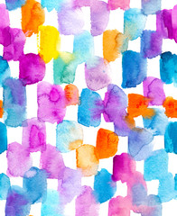 Background with colorful watercolor spots.  Raster seamless pattern.