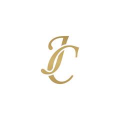 Initial letter JC, overlapping elegant monogram logo, luxury golden color