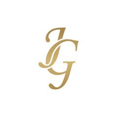 Initial letter JG, overlapping elegant monogram logo, luxury golden color